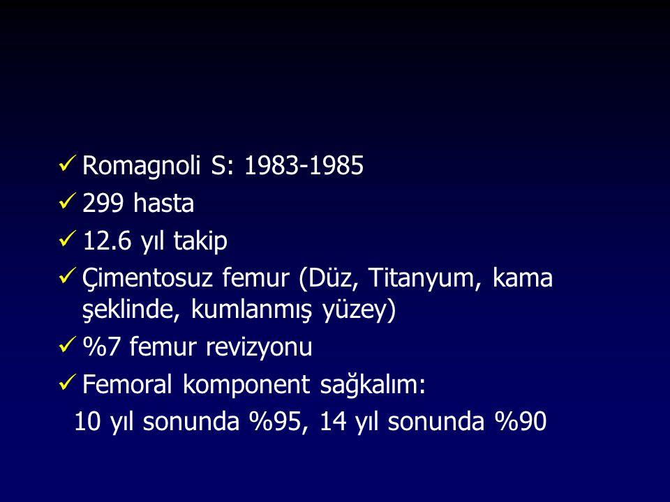 Romagnoli S: 1983-1985 299 hasta 12.6 yıl takip Çimentosuz femur (Düz, Titanyum, kama şeklinde, kumlanmış yüzey) %7 femur revizyonu Femoral komponent