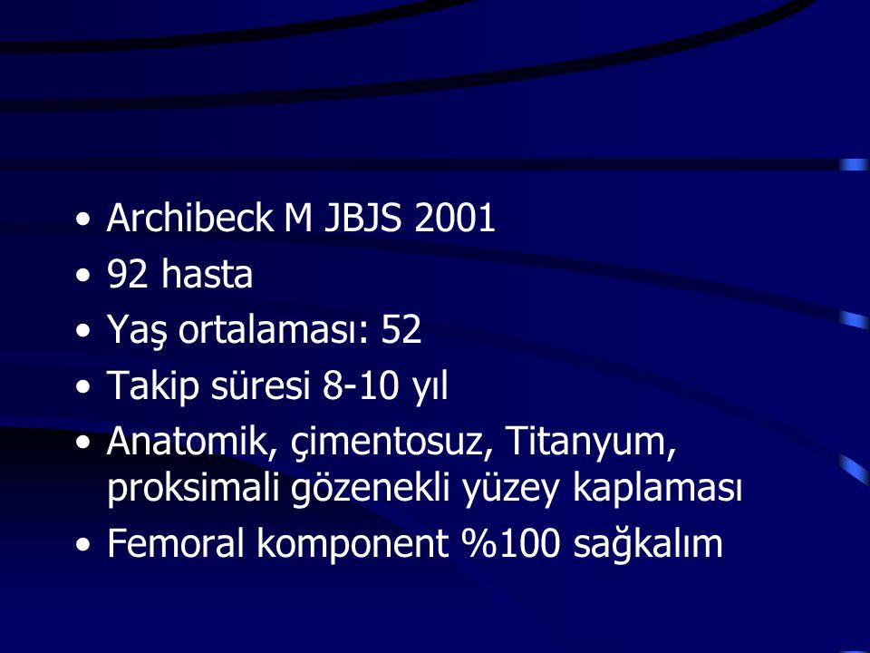 Archibeck M JBJS 2001 92 hasta Yaş ortalaması: 52 Takip süresi 8-10 yıl Anatomik, çimentosuz, Titanyum, proksimali gözenekli yüzey kaplaması Femoral k