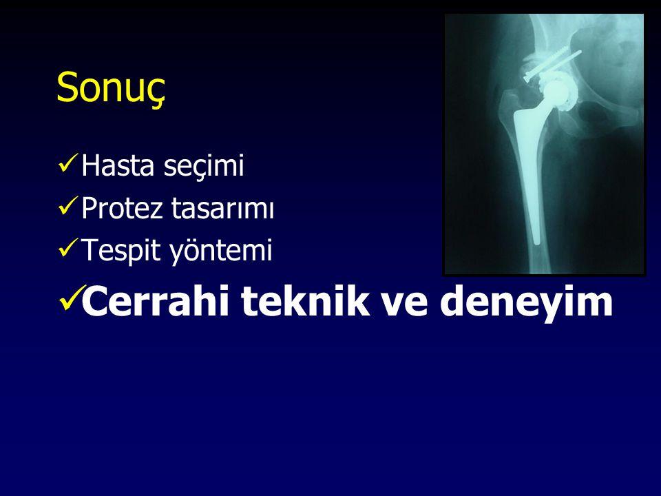 Sonuç Hasta seçimi Protez tasarımı Tespit yöntemi Cerrahi teknik ve deneyim