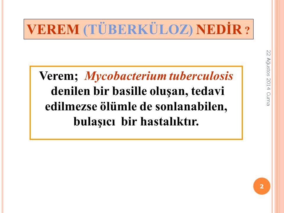 VEREM (TÜBERKÜLOZ) NEDİR ? Verem; Mycobacterium tuberculosis denilen bir basille oluşan, tedavi edilmezse ölümle de sonlanabilen, bulaşıcı bir hastalı