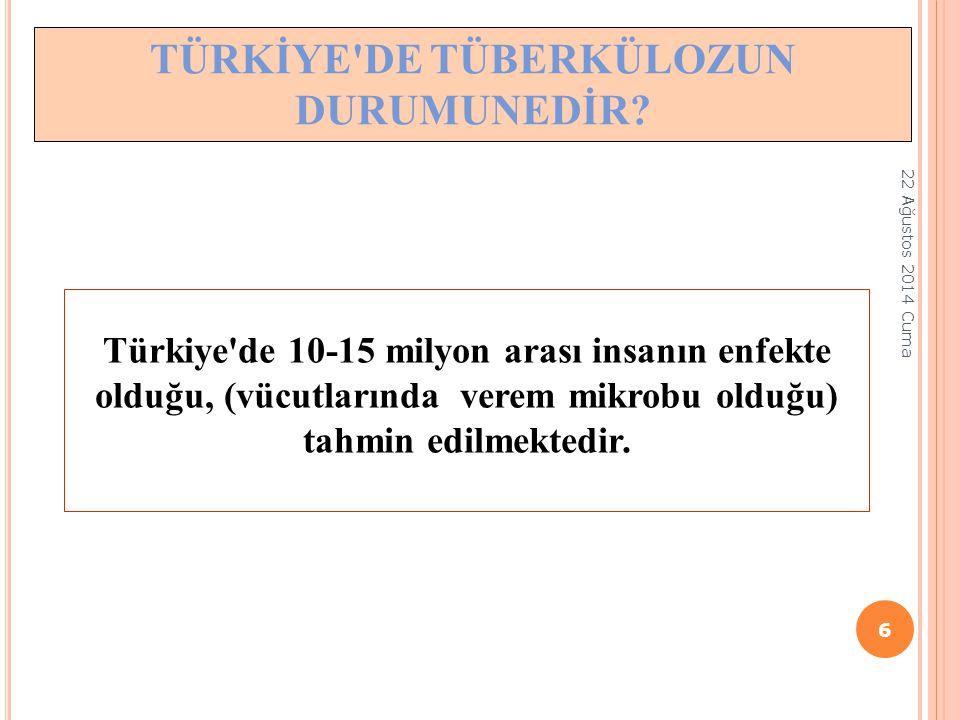 Türkiye'de 10-15 milyon arası insanın enfekte olduğu, (vücutlarında verem mikrobu olduğu) tahmin edilmektedir. TÜRKİYE'DE TÜBERKÜLOZUN DURUMUNEDİR? 22