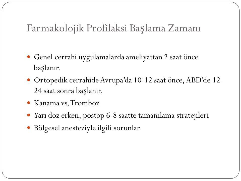 Farmakolojik Profilaksi Ba ş lama Zamanı Genel cerrahi uygulamalarda ameliyattan 2 saat önce ba ş lanır. Ortopedik cerrahide Avrupa'da 10-12 saat önce