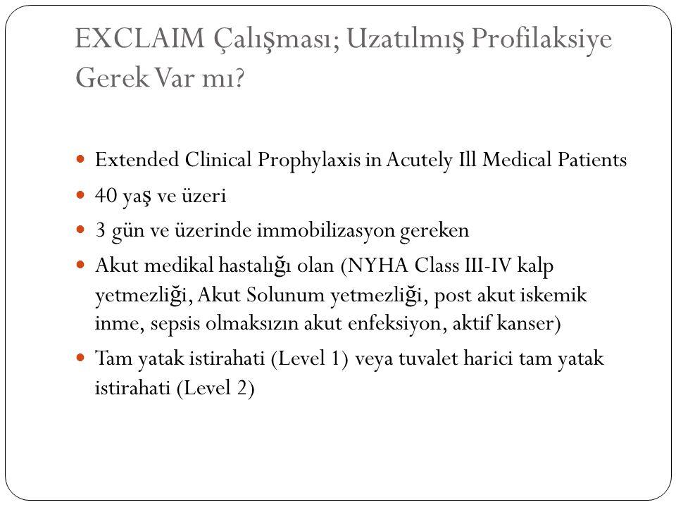 EXCLAIM Çalı ş ması; Uzatılmı ş Profilaksiye Gerek Var mı? Extended Clinical Prophylaxis in Acutely Ill Medical Patients 40 ya ş ve üzeri 3 gün ve üze