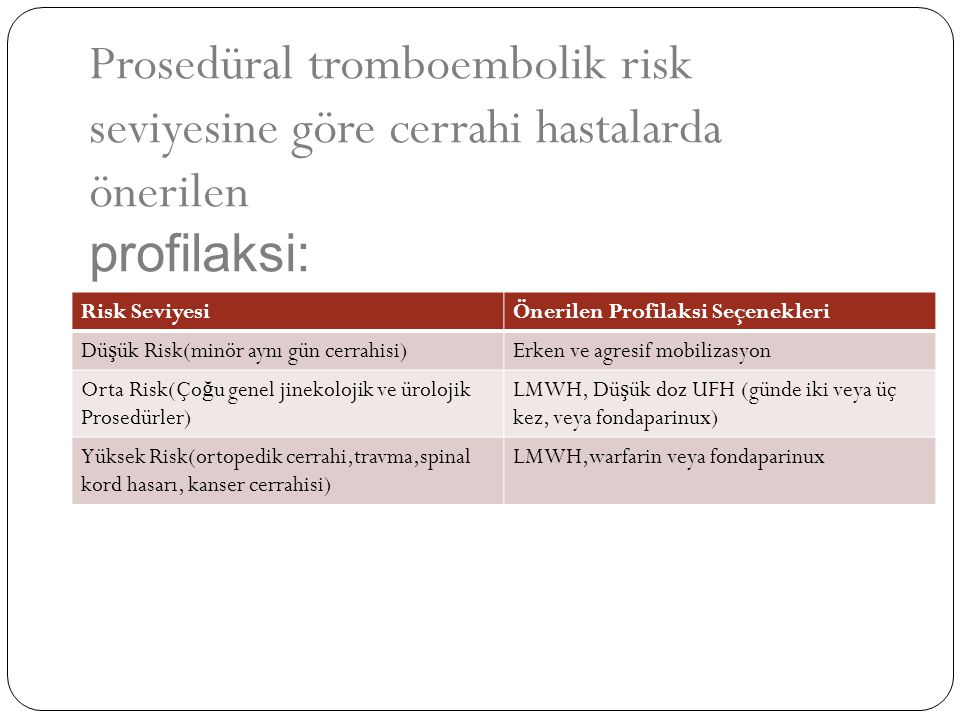 Risk SeviyesiÖnerilen Profilaksi Seçenekleri Dü ş ük Risk(minör aynı gün cerrahisi)Erken ve agresif mobilizasyon Orta Risk(Ço ğ u genel jinekolojik ve
