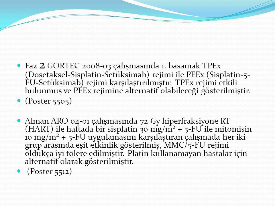Faz 2 GORTEC 2008-03 çalışmasında 1. basamak TPEx (Dosetaksel-Sisplatin-Setüksimab) rejimi ile PFEx (Sisplatin-5- FU-Setüksimab) rejimi karşılaştırılm