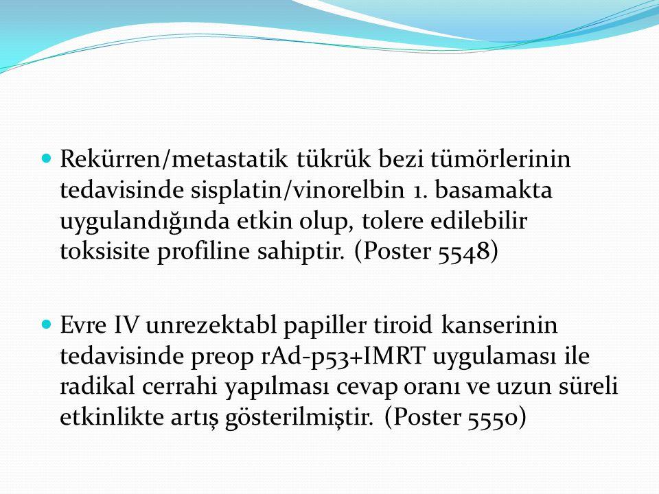 Rekürren/metastatik tükrük bezi tümörlerinin tedavisinde sisplatin/vinorelbin 1. basamakta uygulandığında etkin olup, tolere edilebilir toksisite prof