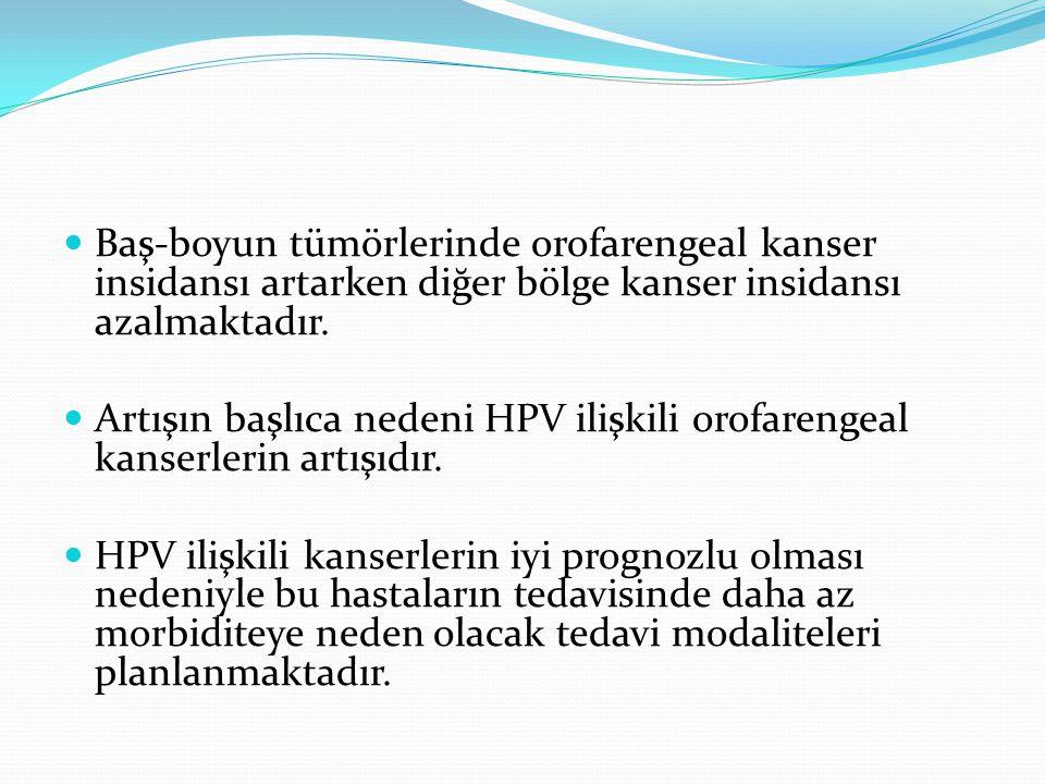 Baş-boyun tümörlerinde orofarengeal kanser insidansı artarken diğer bölge kanser insidansı azalmaktadır. Artışın başlıca nedeni HPV ilişkili orofareng