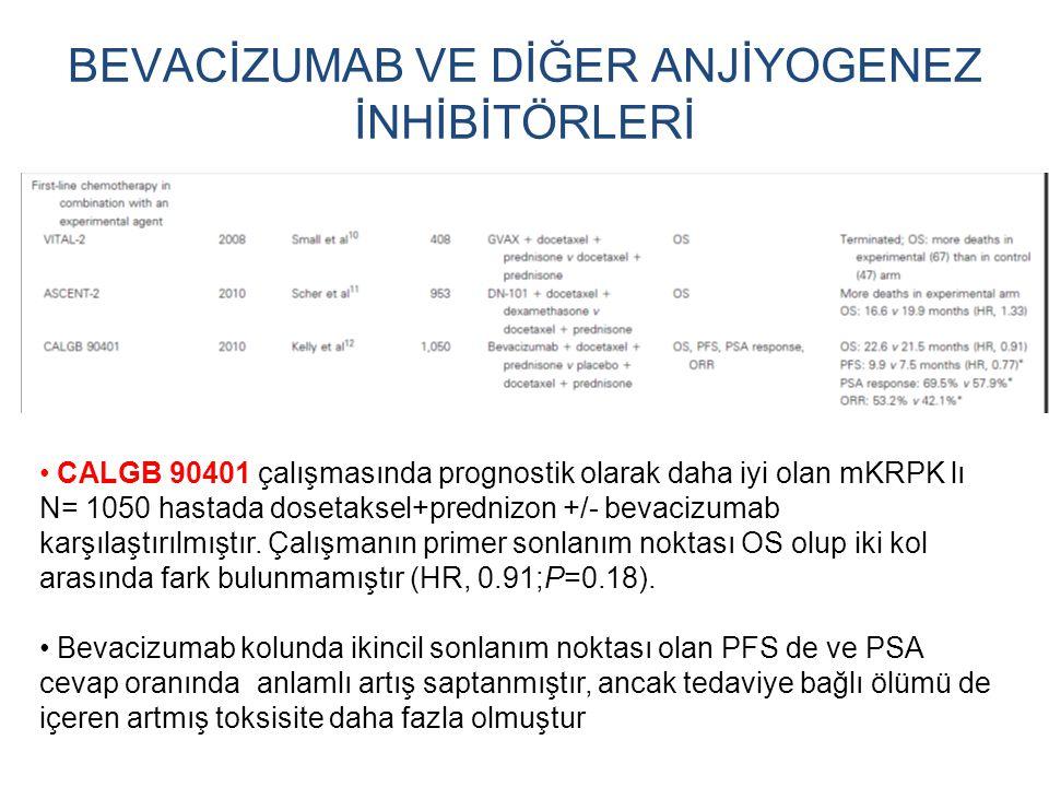 BEVACİZUMAB VE DİĞER ANJİYOGENEZ İNHİBİTÖRLERİ CALGB 90401 çalışmasında prognostik olarak daha iyi olan mKRPK lı N= 1050 hastada dosetaksel+prednizon
