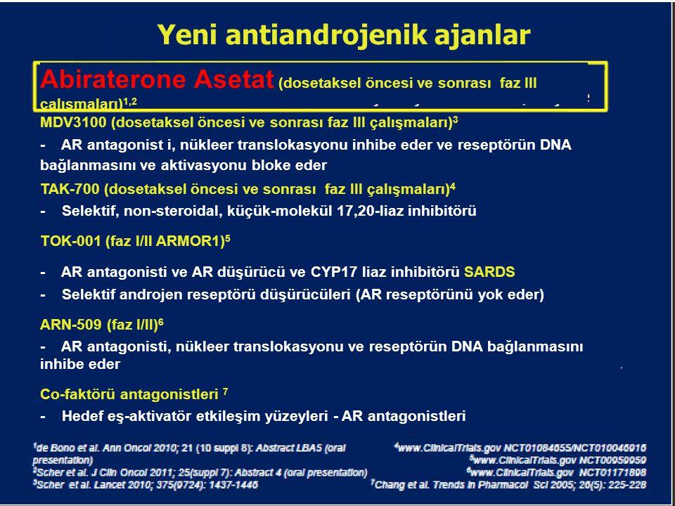Yeni antiandrojenik ajanlar Abiraterone Asetat (dosetaksel öncesi ve sonrası faz III çalışmaları) 1,2 - CYPTZ-a-hidroksilaz ve C17,20-liaz'ın güçlü ve