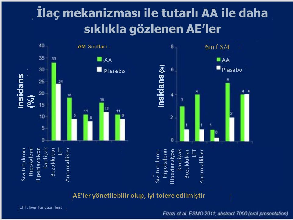 İlaç mekanizması ile tutarlı AA ile daha sıklıkla gözlenen AE'ler AM Sınıfları Sınıf 3/4 AA Plasebo AA Plasebo İ nsidans (%) Sıvı tutulumu Hipokalemi