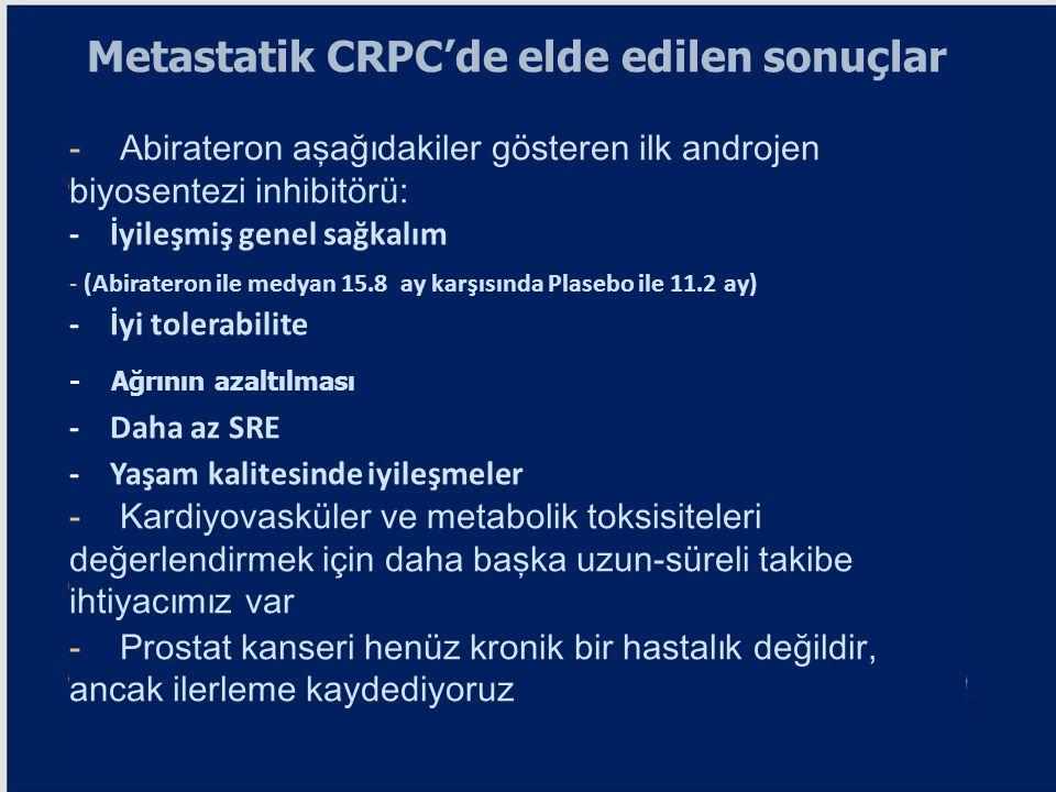 Metastatik CRPC'de elde edilen sonuçlar - Abirateron aşağıdakiler gösteren ilk androjen biyosentezi inhibitörü: - İyileşmiş genel sağkalım - (Abirater