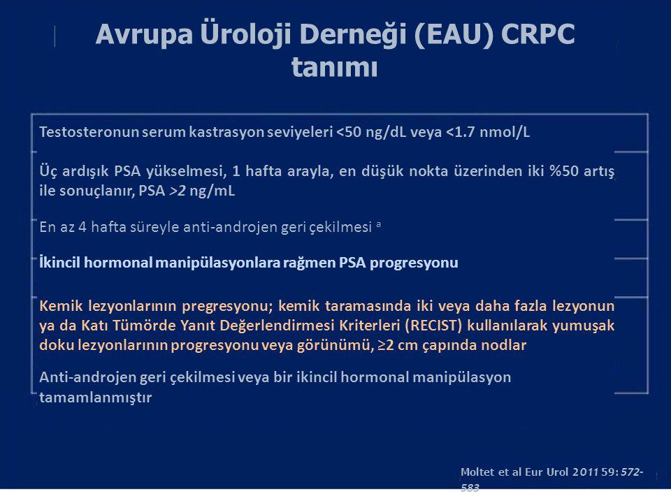 Avrupa Üroloji Derneği (EAU) CRPC tanımı Testosteronun serum kastrasyon seviyeleri <50 ng/dL veya <1.7 nmol/L Üç ardışık PSA yükselmesi, 1 hafta arayl