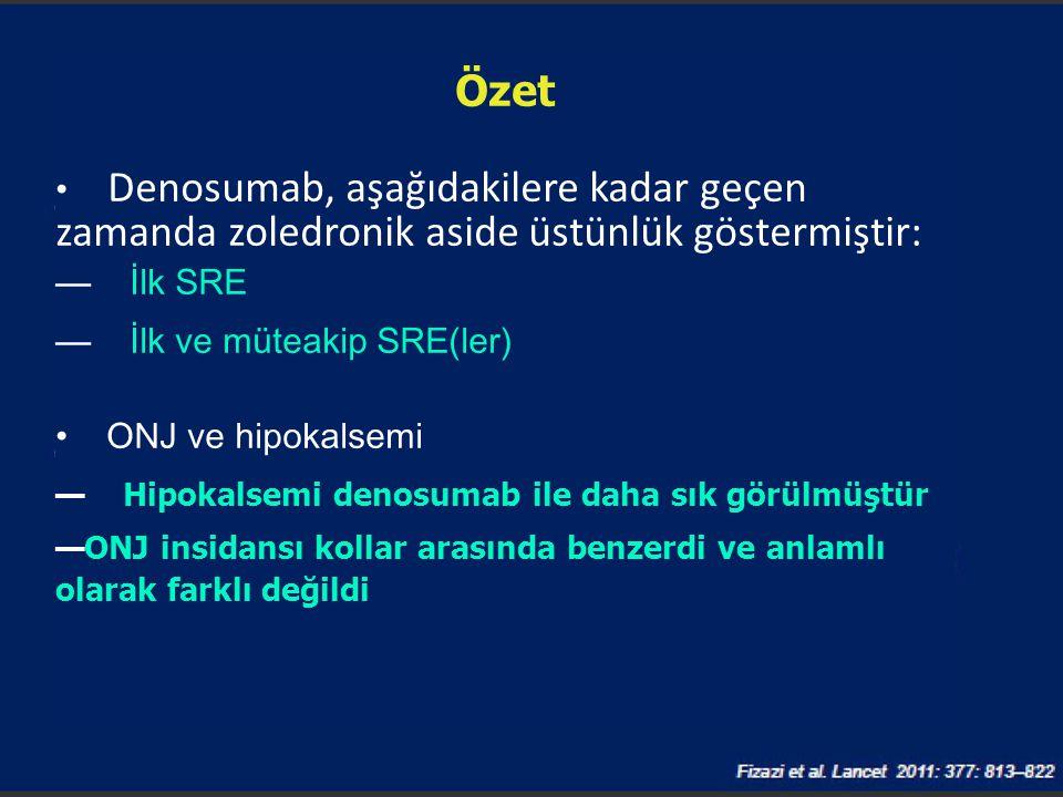 Özet Denosumab, aşağıdakilere kadar geçen zamanda zoledronik aside üstünlük göstermiştir: — İlk SRE — İlk ve müteakip SRE(ler) ONJ ve hipokalsemi — Hi