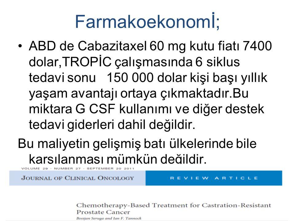 Farmakoekonomİ; ABD de Cabazitaxel 60 mg kutu fiatı 7400 dolar,TROPİC çalışmasında 6 siklus tedavi sonu 150 000 dolar kişi başı yıllık yaşam avantajı