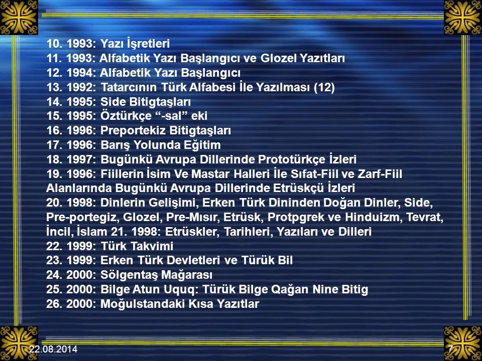 22.08.20147 10.1993: Yazı İşretleri 11. 1993: Alfabetik Yazı Başlangıcı ve Glozel Yazıtları 12.