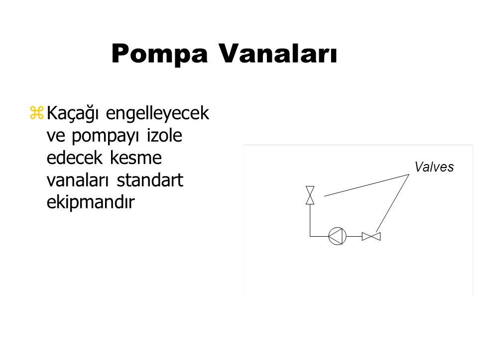 Pompa Vanaları zKaçağı engelleyecek ve pompayı izole edecek kesme vanaları standart ekipmandır Valves