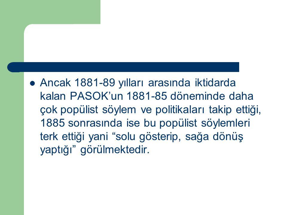 Ancak 1881-89 yılları arasında iktidarda kalan PASOK'un 1881-85 döneminde daha çok popülist söylem ve politikaları takip ettiği, 1885 sonrasında ise b