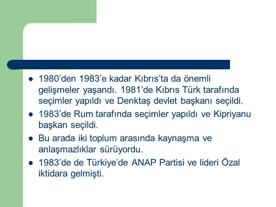 1980'den 1983'e kadar Kıbrıs'ta da önemli gelişmeler yaşandı. 1981'de Kıbrıs Türk tarafında seçimler yapıldı ve Denktaş devlet başkanı seçildi. 1983'd