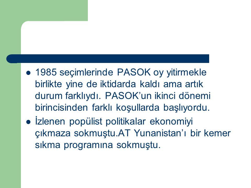 1985 seçimlerinde PASOK oy yitirmekle birlikte yine de iktidarda kaldı ama artık durum farklıydı. PASOK'un ikinci dönemi birincisinden farklı koşullar