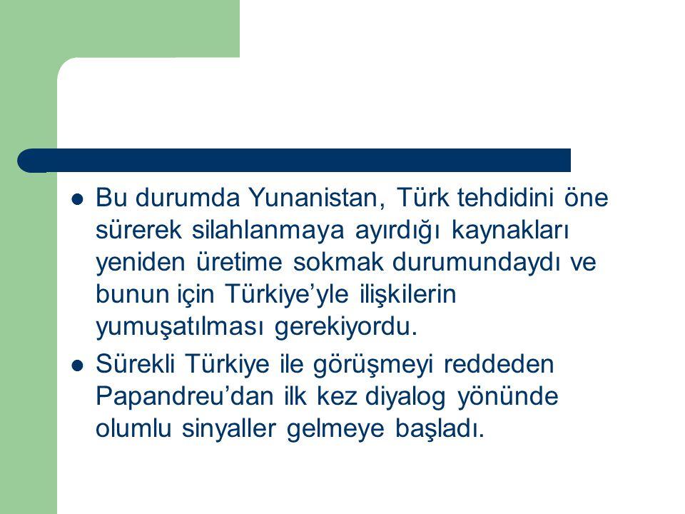 Bu durumda Yunanistan, Türk tehdidini öne sürerek silahlanmaya ayırdığı kaynakları yeniden üretime sokmak durumundaydı ve bunun için Türkiye'yle ilişk