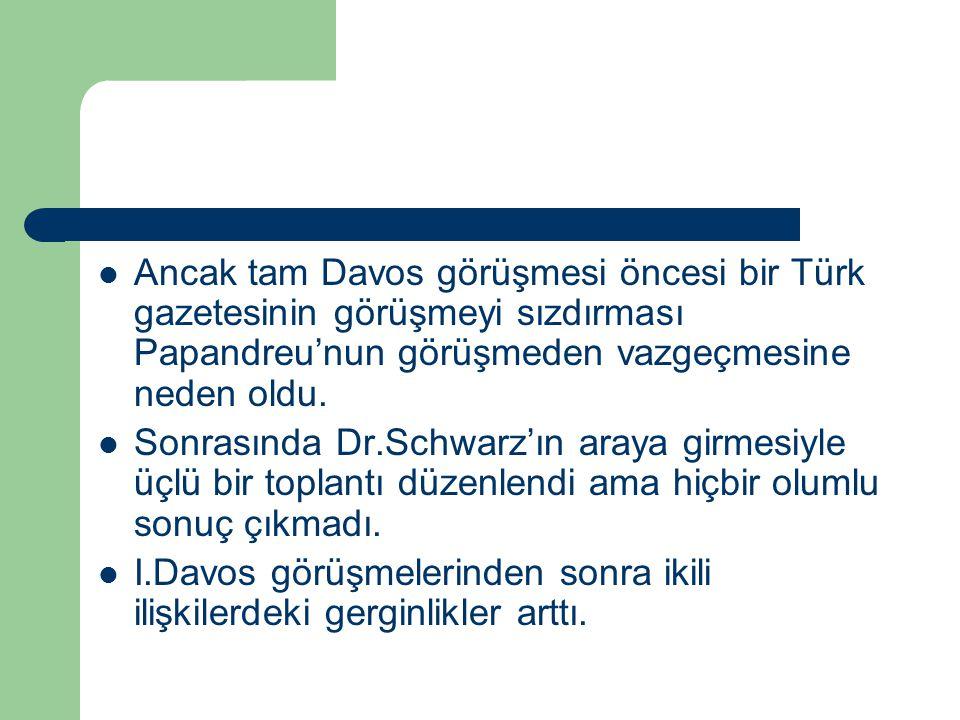 Ancak tam Davos görüşmesi öncesi bir Türk gazetesinin görüşmeyi sızdırması Papandreu'nun görüşmeden vazgeçmesine neden oldu. Sonrasında Dr.Schwarz'ın