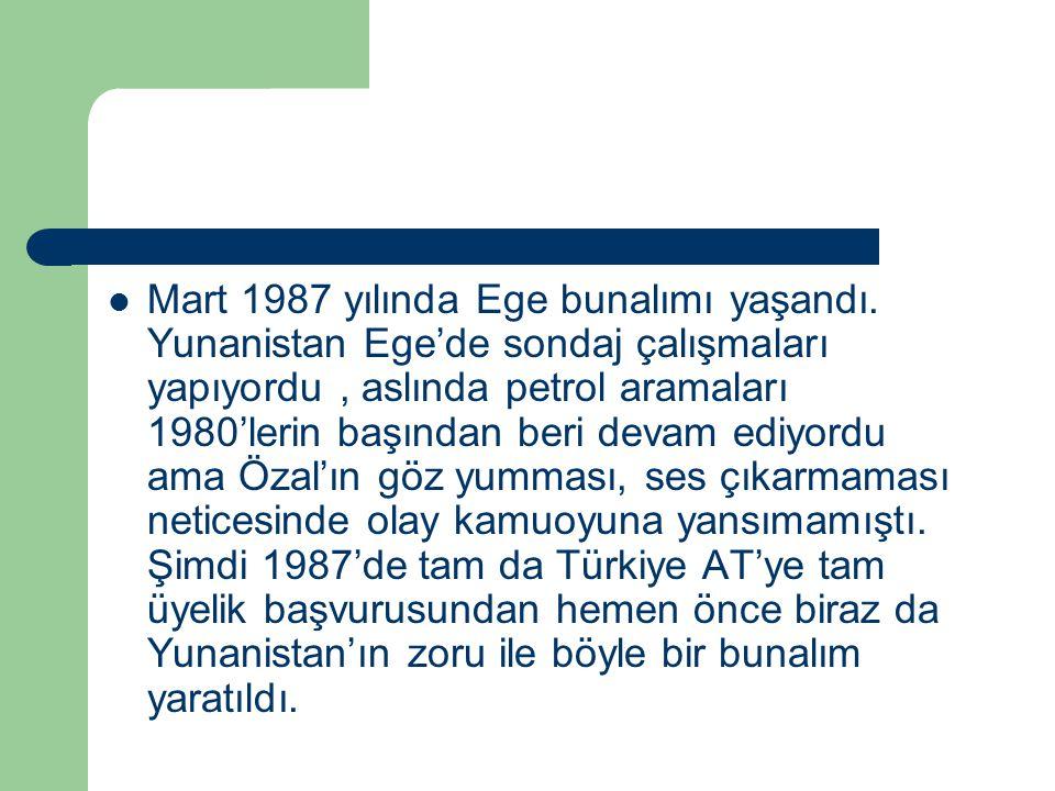 Mart 1987 yılında Ege bunalımı yaşandı. Yunanistan Ege'de sondaj çalışmaları yapıyordu, aslında petrol aramaları 1980'lerin başından beri devam ediyor