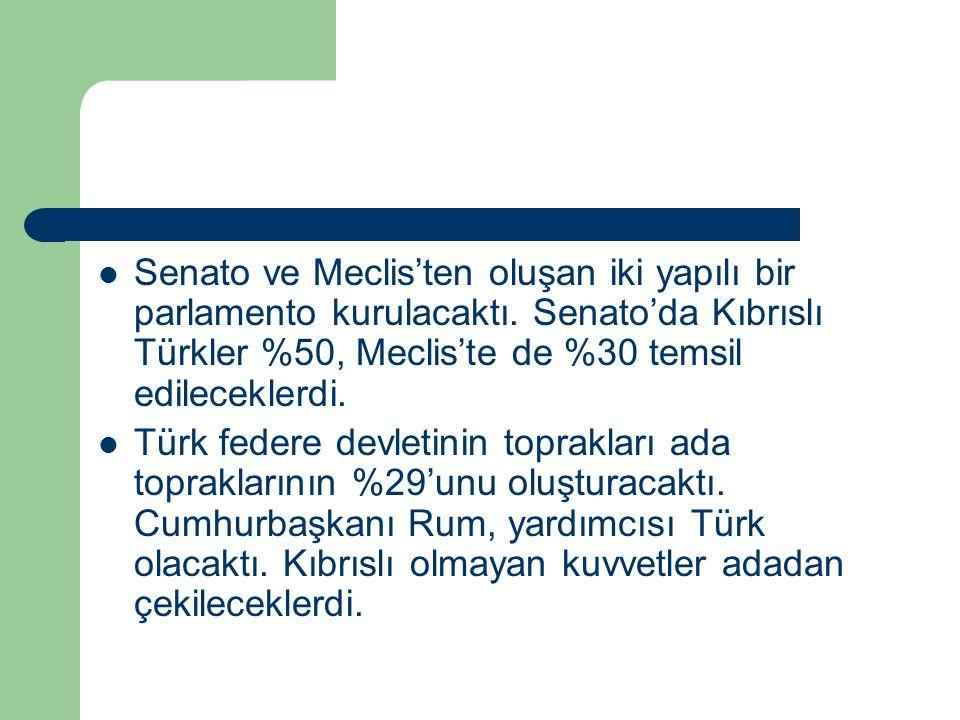 Senato ve Meclis'ten oluşan iki yapılı bir parlamento kurulacaktı. Senato'da Kıbrıslı Türkler %50, Meclis'te de %30 temsil edileceklerdi. Türk federe