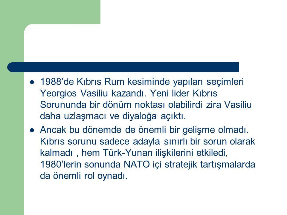 1988'de Kıbrıs Rum kesiminde yapılan seçimleri Yeorgios Vasiliu kazandı. Yeni lider Kıbrıs Sorununda bir dönüm noktası olabilirdi zira Vasiliu daha uz