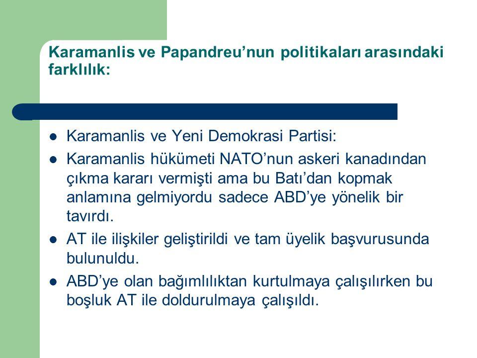 Karamanlis ve Papandreu'nun politikaları arasındaki farklılık: Karamanlis ve Yeni Demokrasi Partisi: Karamanlis hükümeti NATO'nun askeri kanadından çı