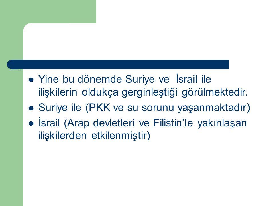 Yine bu dönemde Suriye ve İsrail ile ilişkilerin oldukça gerginleştiği görülmektedir. Suriye ile (PKK ve su sorunu yaşanmaktadır) İsrail (Arap devletl