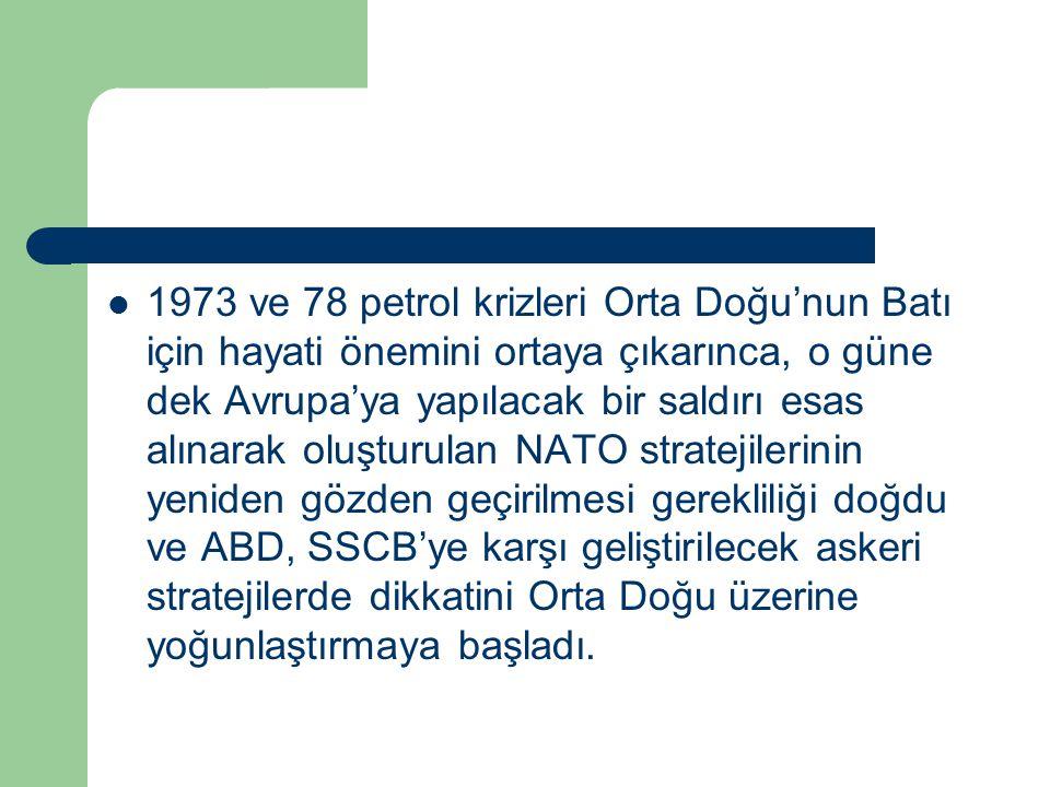 1973 ve 78 petrol krizleri Orta Doğu'nun Batı için hayati önemini ortaya çıkarınca, o güne dek Avrupa'ya yapılacak bir saldırı esas alınarak oluşturul