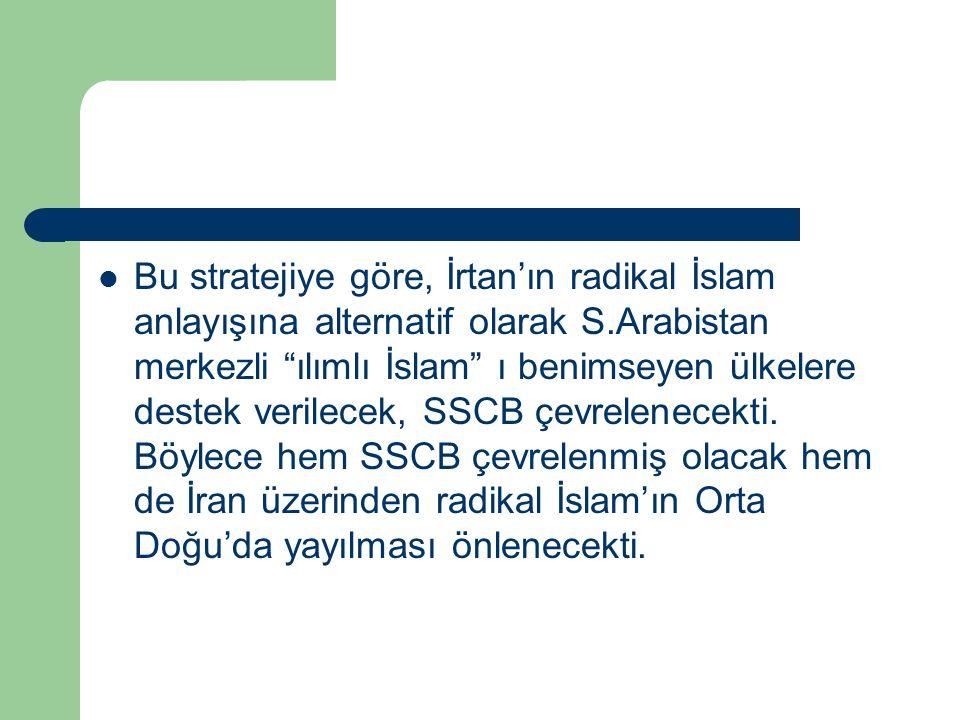 """Bu stratejiye göre, İrtan'ın radikal İslam anlayışına alternatif olarak S.Arabistan merkezli """"ılımlı İslam"""" ı benimseyen ülkelere destek verilecek, SS"""