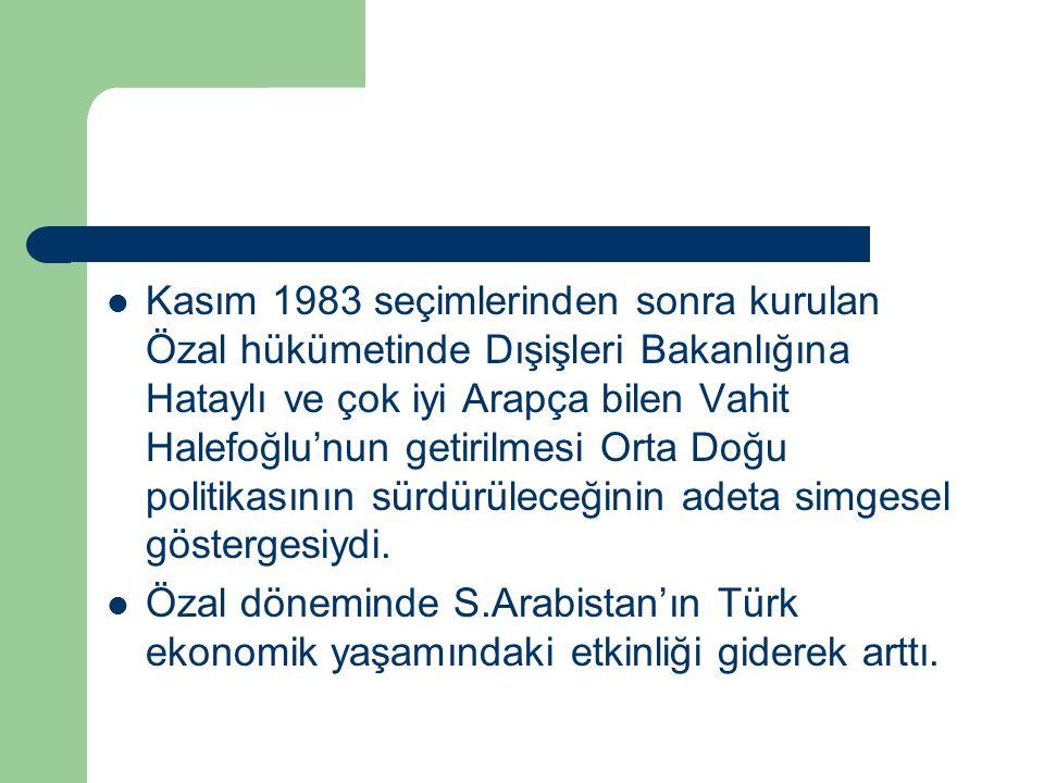 Kasım 1983 seçimlerinden sonra kurulan Özal hükümetinde Dışişleri Bakanlığına Hataylı ve çok iyi Arapça bilen Vahit Halefoğlu'nun getirilmesi Orta Doğ