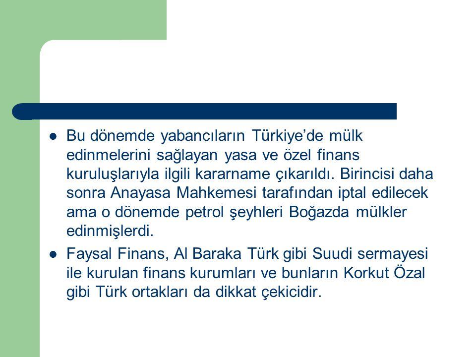 Bu dönemde yabancıların Türkiye'de mülk edinmelerini sağlayan yasa ve özel finans kuruluşlarıyla ilgili kararname çıkarıldı. Birincisi daha sonra Anay