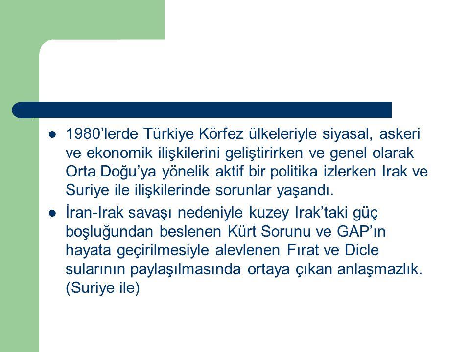 1980'lerde Türkiye Körfez ülkeleriyle siyasal, askeri ve ekonomik ilişkilerini geliştirirken ve genel olarak Orta Doğu'ya yönelik aktif bir politika i