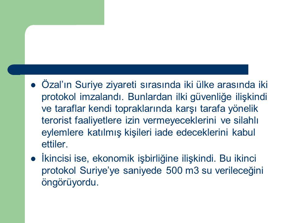 Özal'ın Suriye ziyareti sırasında iki ülke arasında iki protokol imzalandı. Bunlardan ilki güvenliğe ilişkindi ve taraflar kendi topraklarında karşı t