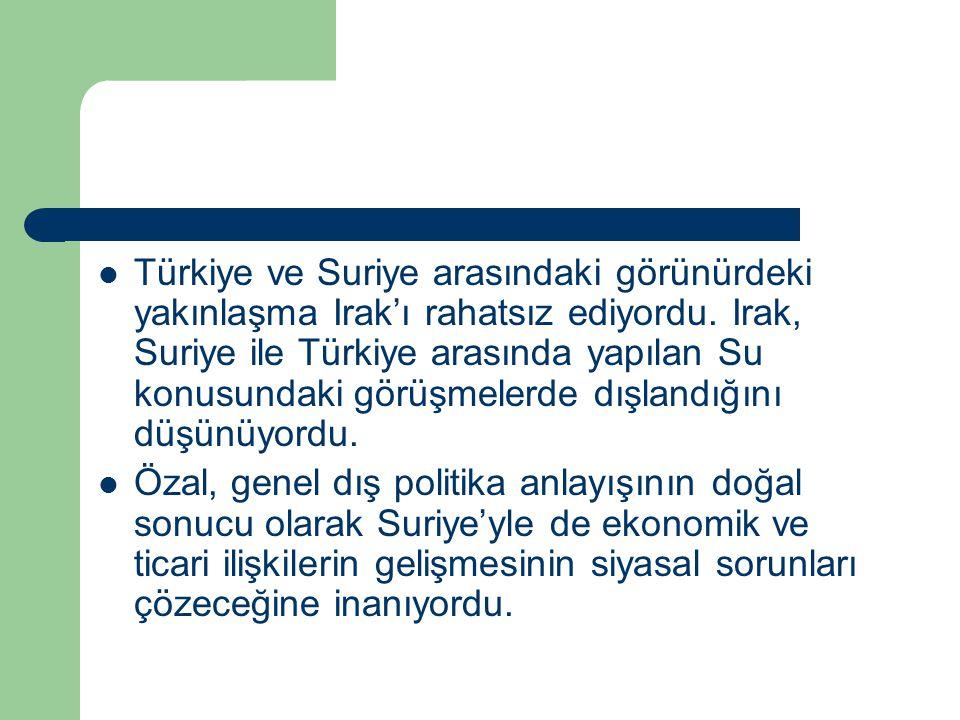 Türkiye ve Suriye arasındaki görünürdeki yakınlaşma Irak'ı rahatsız ediyordu. Irak, Suriye ile Türkiye arasında yapılan Su konusundaki görüşmelerde dı