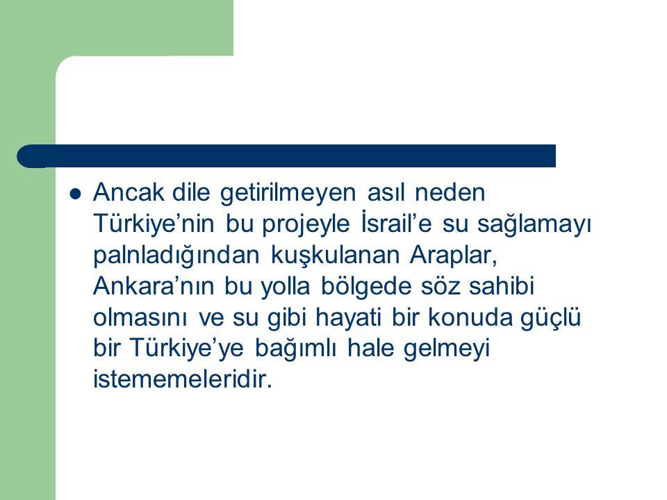 Ancak dile getirilmeyen asıl neden Türkiye'nin bu projeyle İsrail'e su sağlamayı palnladığından kuşkulanan Araplar, Ankara'nın bu yolla bölgede söz sa