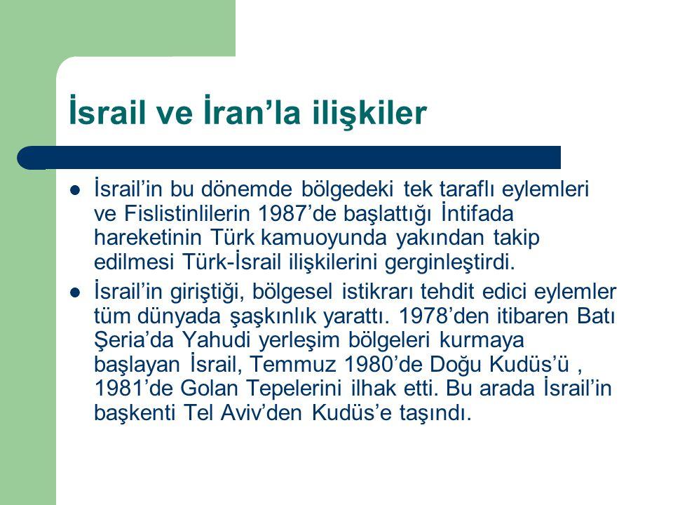 İsrail ve İran'la ilişkiler İsrail'in bu dönemde bölgedeki tek taraflı eylemleri ve Fislistinlilerin 1987'de başlattığı İntifada hareketinin Türk kamu