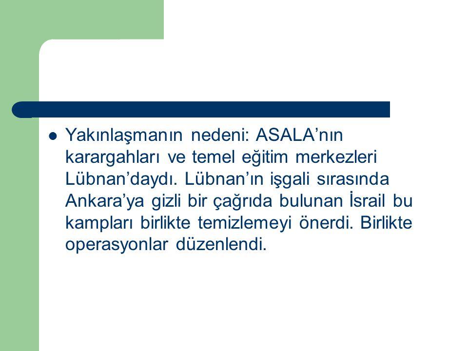 Yakınlaşmanın nedeni: ASALA'nın karargahları ve temel eğitim merkezleri Lübnan'daydı. Lübnan'ın işgali sırasında Ankara'ya gizli bir çağrıda bulunan İ
