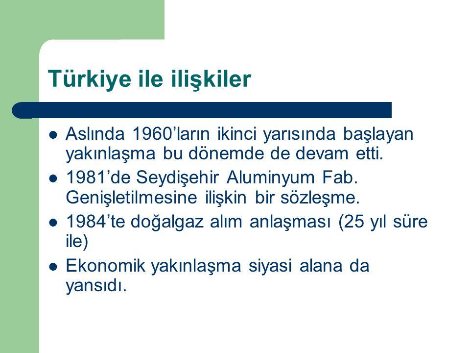 Türkiye ile ilişkiler Aslında 1960'ların ikinci yarısında başlayan yakınlaşma bu dönemde de devam etti. 1981'de Seydişehir Aluminyum Fab. Genişletilme