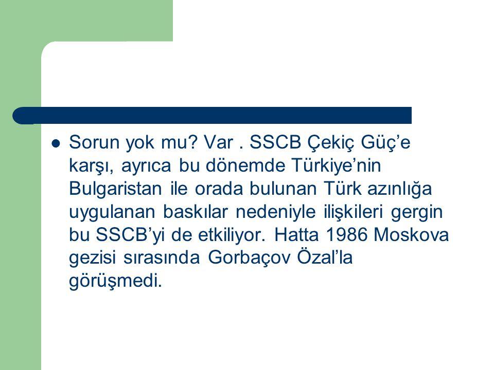 Sorun yok mu? Var. SSCB Çekiç Güç'e karşı, ayrıca bu dönemde Türkiye'nin Bulgaristan ile orada bulunan Türk azınlığa uygulanan baskılar nedeniyle iliş