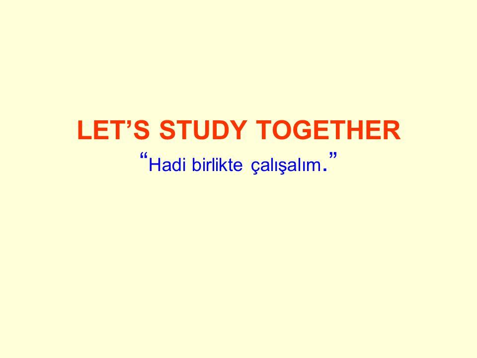 LET'S STUDY TOGETHER Hadi birlikte çalışalım.