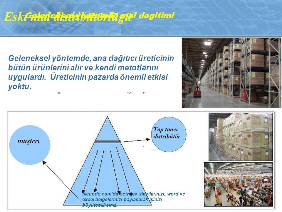 Geleneksel yöntemde, ana dağıtıcı üreticinin bütün ürünlerini alır ve kendi metotlarını uygulardı.
