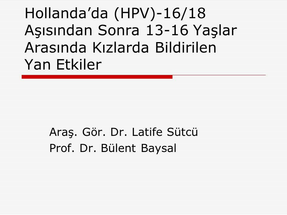 Hollanda'da (HPV)-16/18 Aşısından Sonra 13-16 Yaşlar Arasında Kızlarda Bildirilen Yan Etkiler Araş.