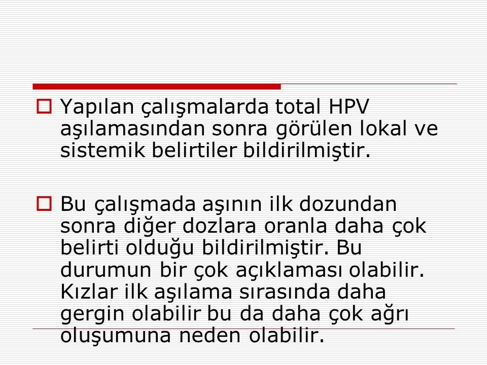  Yapılan çalışmalarda total HPV aşılamasından sonra görülen lokal ve sistemik belirtiler bildirilmiştir.