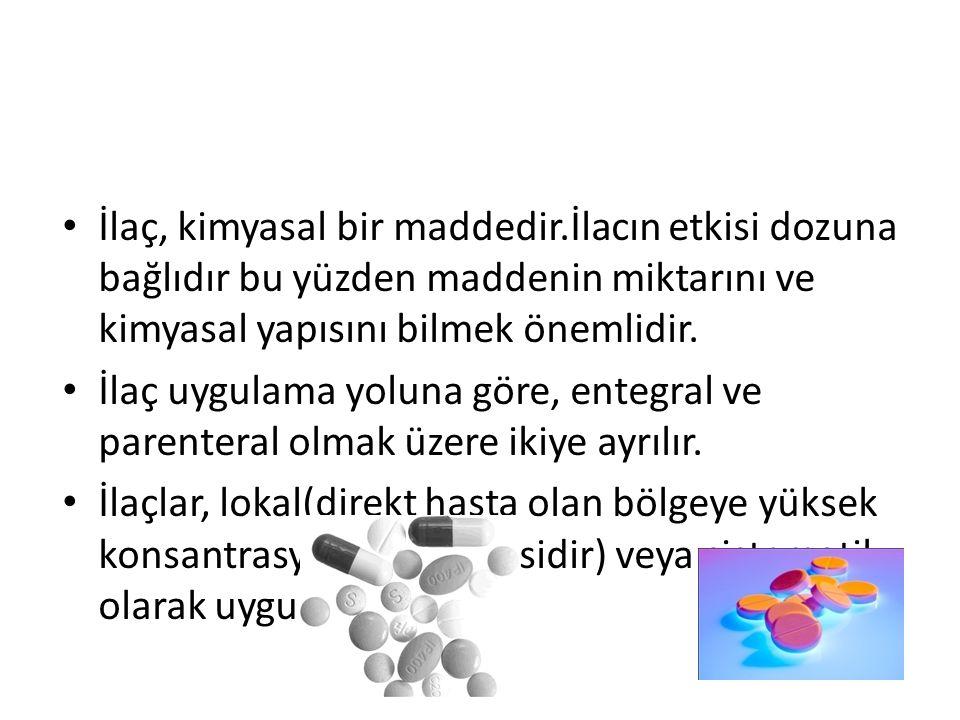 İlaç, kimyasal bir maddedir.İlacın etkisi dozuna bağlıdır bu yüzden maddenin miktarını ve kimyasal yapısını bilmek önemlidir. İlaç uygulama yoluna gör