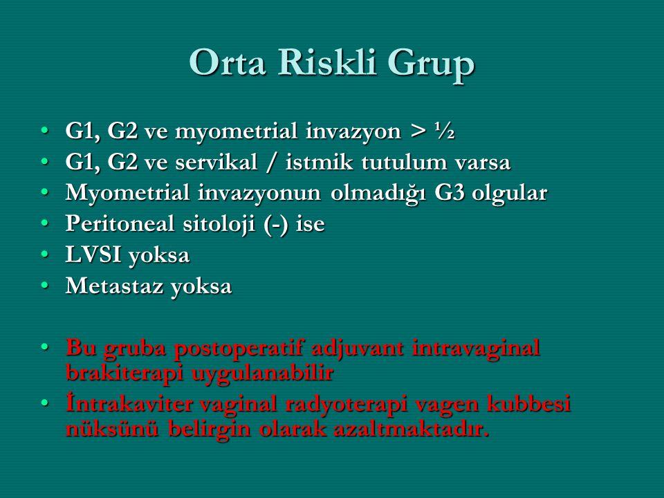 Orta Riskli Grup G1, G2 ve myometrial invazyon > ½G1, G2 ve myometrial invazyon > ½ G1, G2 ve servikal / istmik tutulum varsaG1, G2 ve servikal / istm