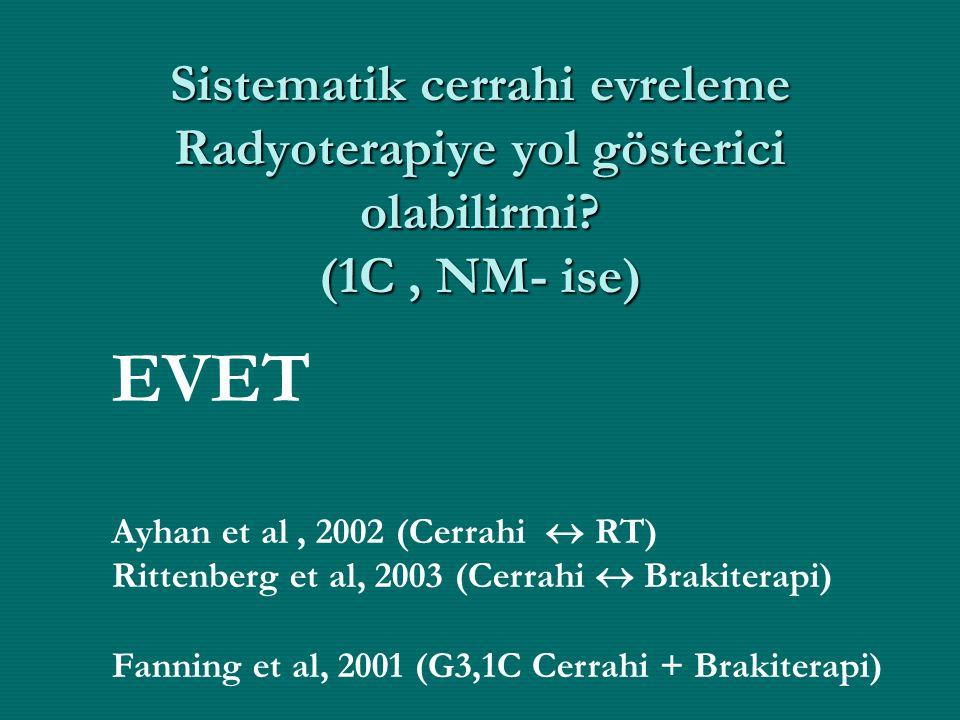 Sistematik cerrahi evreleme Radyoterapiye yol gösterici olabilirmi? (1C, NM- ise) EVET Ayhan et al, 2002 (Cerrahi  RT) Rittenberg et al, 2003 (Cerrah