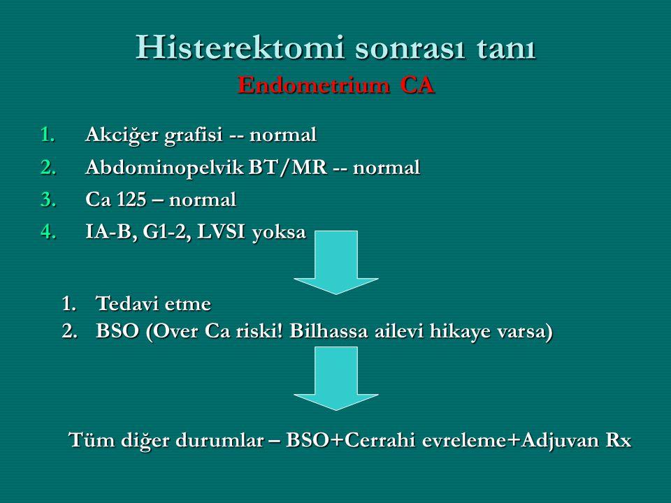 Histerektomi sonrası tanı Endometrium CA 1.Akciğer grafisi -- normal 2.Abdominopelvik BT/MR -- normal 3.Ca 125 – normal 4.IA-B, G1-2, LVSI yoksa 1.Ted